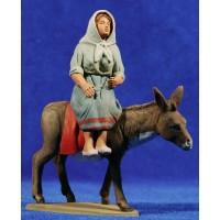 Pastora catalana con asno 12 cm barro pintado Delgado