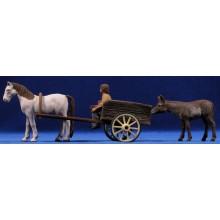 Pastor catalán con carro de caballo 12 cm barro pintado Delgado