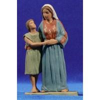 Pastora hebrea con chico 12 cm barro pintado Delgado