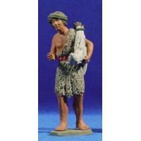Pastor hebreo con cordero 12 cm barro pintado Delgado