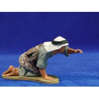 Pastor hebreo adorando estirado 12 cm barro pintado Delgado
