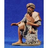 Pastor manta hebreo adorando 12 cm barro pintado Delgado