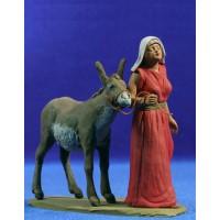 Pastora hebrea con asno 12 cm barro pintado Delgado