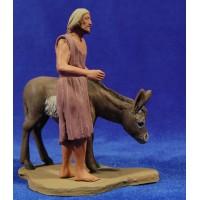 Pastor hebreo con asno de pie12 cm barro pintado Delgado