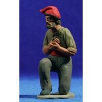 Pastor catalán con brazos cruzados adorando 15 cm barro pintado Delgado