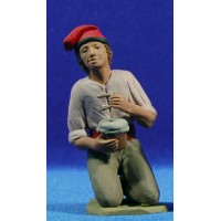 Pastor catalán adorando con zambomba 15 cm barro pintado Delgado