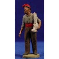 Pastor catalán con cordero al lado15 cm barro pintado Delgado