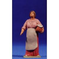 Pastora catalana con recipiente 8 cm barro pintado Delgado