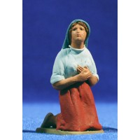 Pastora catalana adorando con capucha 8 cm barro pintado Delgado