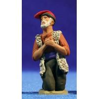Pastor anciano catalán adorando 8 cm barro pintado Delgado