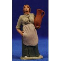 Pastora catalana embarazada con jarra 8 cm barro pintado Delgado