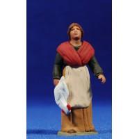Pastora catalana con gallina 8 cm barro pintado Delgado
