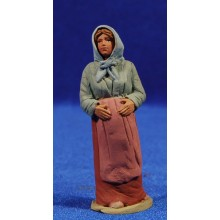 Pastora catalana embarazada  8 cm barro pintado Delgado