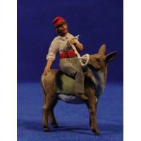 Pastor catalán montando un asno y estirando 8 cm barro pintado Delgado