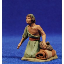 Pastor hebreo adorando 8 cm barro pintado Delgado