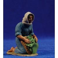 Pastora lavandera 8 cm barro pintado Delgado