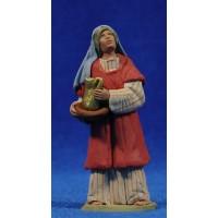 Pastora hebrea con jarra y plato 8 cm barro pintado Delgado