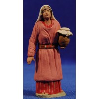 Pastora hebrea con jarra tapada 8 cm barro pintado Delgado