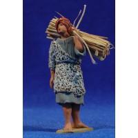 Pastor hebreo con paja 8 cm barro pintado Delgado