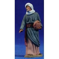 Pastor hebreo con pan 8 cm barro pintado Delgado