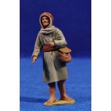 Pastor hebreo con bolsa 8 cm barro pintado Delgado