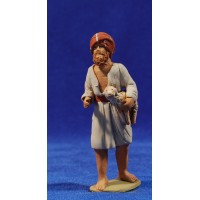 Pastor hebrea con cordero 8 cm barro pintado Delgado
