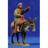 Pastor hebreo señalando con asno 8 cm barro pintado Delgado