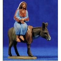 Pastora hebrea con asno 8 cm barro pintado Delgado