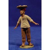 Pescador catalán con zafata en la cabeza 12 cm barro pintado Delgado