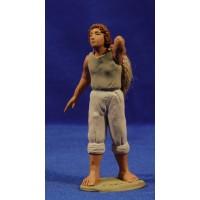 Pescador marinero con cuerda 12 cm barro pintado Delgado