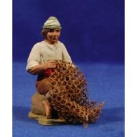 Pescador marinero con red 12 cm barro pintado Delgado