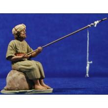 Pescador hebreo 12 cm barro pintado Delgado