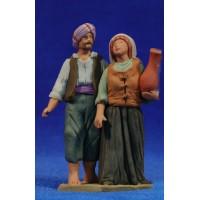 Pastor pareja 8 cm barro pintado Delgado