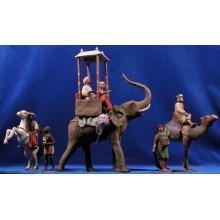 Reyes caballo, camello y elefante 12 cm barro pintado Delgado