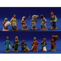 Conjunto 12 pastores 3 cm barro pintado Fabregat