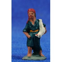 Shepherd with lamb 3 cm clay painted Fabregat