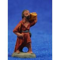 Pastor con cesto 3 cm barro pintado Fabregat