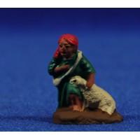 Pastor adorando con cordero 3 cm barro pintado Fabregat