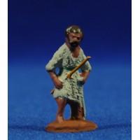 Pastor con bastón 3 cm barro pintado Fabregat