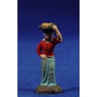 Pastora con cesto 3 cm barro pintado