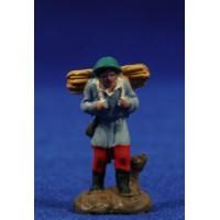 Pastor con leña 3 cm barro pintado