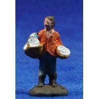 Pastor con gallina 3 cm barro pintado