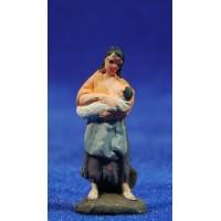 Pastora con niño 3 cm barro pintado