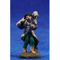 Pastor con cordero 3 cm barro pintado