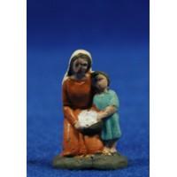 Pastora adorando con niño 3 cm barro pintado