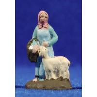 Pastora con cabra 3 cm barro pintado