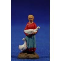 Pastora con ocas 3 cm barro pintado