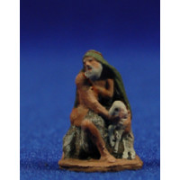 Pastor adorando con cordero 3 cm pasta cerámica Hermanos Cerrada