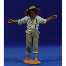 Pastor joven con vara 14 cm pasta cerámica Hermanos Cerrada