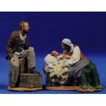 Nacimiento popular sin animales 7 cm pasta cerámica Hermanos Cerrada